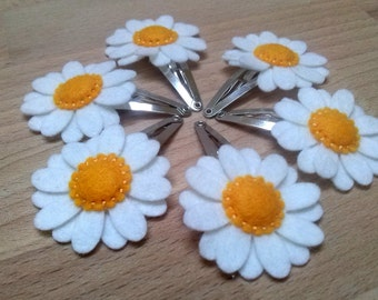 Toddler hair clips, Daisy hair clips for girls, White Flower hair clips for women, Daisy hair accessory, Women hair clips / set of 2