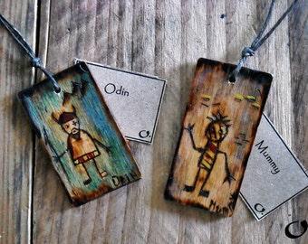 Odin;Mummy-handmade wooden pendants,wooden necklace,wooden pendant,mythology pendant,funny pendant,pyrography,wooden jewelry,handmade