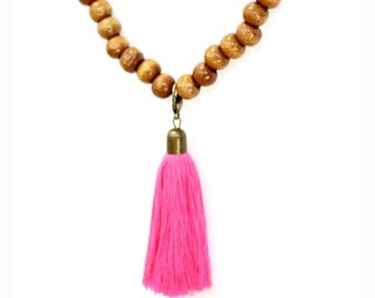 """Bohemian wood """"Bali"""" with colorful Pompom-beads necklace"""