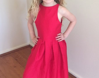 Girls cherry red party dress