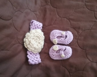 Newborn Floral Headband and Matching Booties