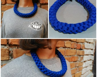 Deep blue necklace, gray necklace,light green necklace,knitted jewerly,jewellery,knitted necklace,yarn necklace