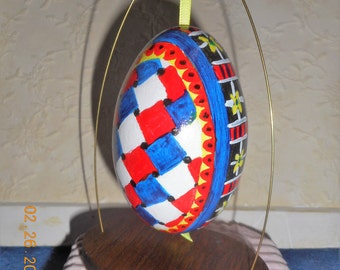 Hand painted Zentangle goose egg ornament.