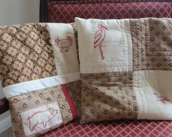 Pillows with Antique Redwork