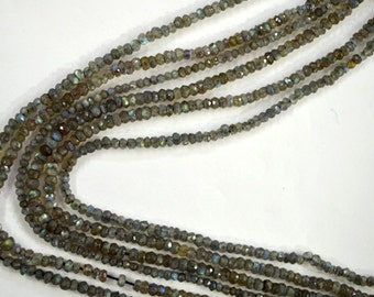 "3-4 MM Natural Labradorite faceted labradorite rondelle beads 13"" strand L08"