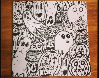 Ghosts and Pumpkins greeting card. Halloween, birthday etc