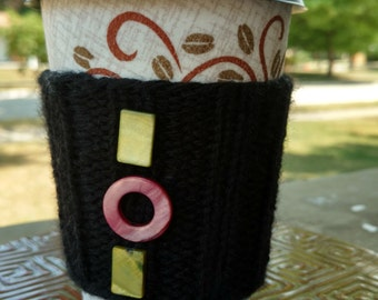 Coffee Cozy: Black with Green and Pink Beads