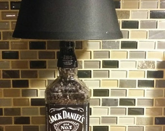 Jack Daniels Tennessee Whiskey Bottle Lamp On A Wood Base w/ Shade and Shot Glass