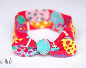 Colourful Top Knot Headband, Baby Headband, Knot Baby Headwrap, Bright Coloured Headband, Red Baby Tieknot Turban Headband, Baby Shower Gift