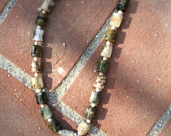 "18"" necklace ocean jasper and ammalite pendant"