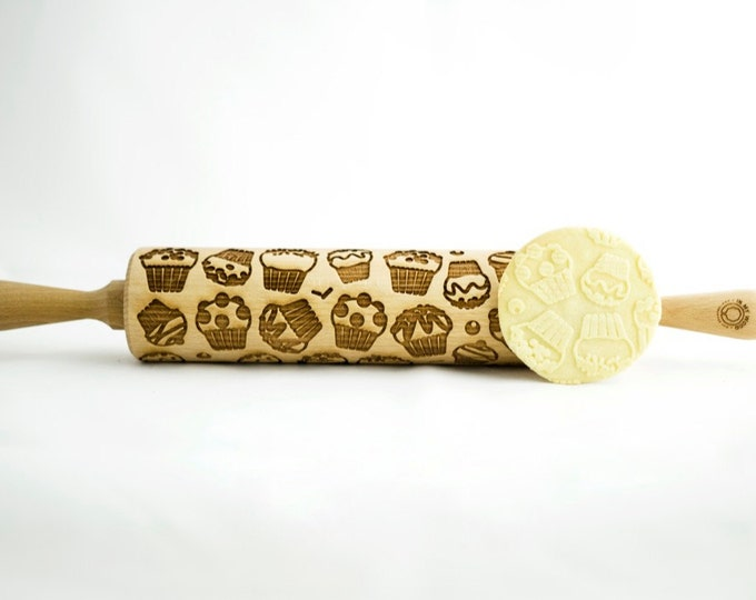 MUFFIN rolling pin, embossing rolling pin, engraved rolling pin for a gift, MUFFINS, gift ideas, gifts, unique, autumn, wedding