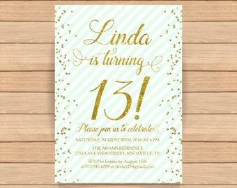 13th birthday invitation, Thirteenth birthday, Gold glitter confetti, Mint diagonal stripes, Teen birthday invitation, ANY AGE, COLOR - 1561