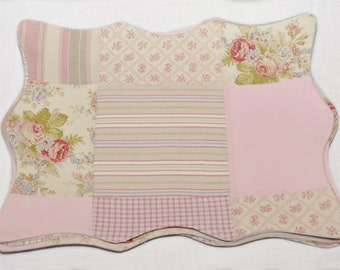 Nobby Cottage Pink Patchwork Placemats, Quilted Placemats