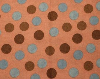 Polka Dot (Brown and Blue on Pink) Bandana