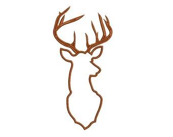 12 size -Deer Head Applique Design Machine Embroidery -INSTANT DOWNLOAD