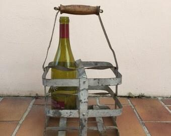 ANTIQUE VINTAGE FRENCH Handmade Metal zinc Bottle Wine Carrier Basket 7