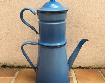 RARE Vintage French Enamelware blue Enamel Coffee Pot