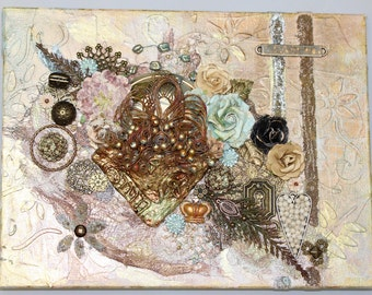 Life Imagined Mixed Media Assemblage Art Original Collage Vintage Hand Painted OOAK Found Objects Quote