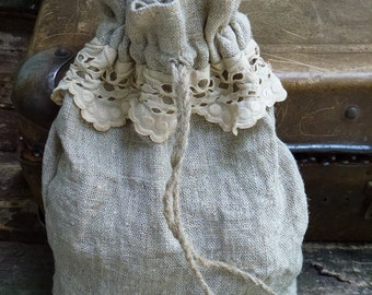 Natural linen pouch grey drawstring.  Sack lunch. Rustic fashion. Bag of rustic style.
