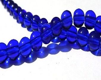 25 glass beads - 6 mm - dark blue / M1-0379