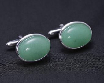 Silver Plated Cufflinks with Aventurine gemstones