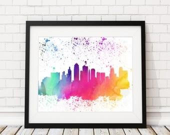 Kansas City Skyline Watercolor Print - Cityscape Print Kansas City Watercolor Art Kansas City Skyline Painting Watercolor Painting Wall Art
