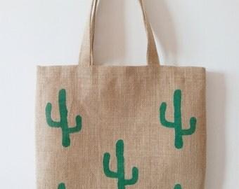 Tote bag burlap reasons cactus