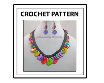 Crochet Button Necklace Jewelry Pattern