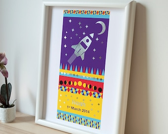 to the moon -personalised print