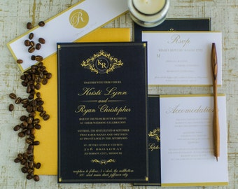 Black and Gold Elegant Invitation Suite (starting at 3.75 ea)