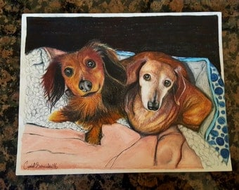 Colored Pencil Custom Photo Realistic Pet Portraits - From Photos