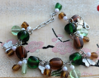 Butterfly Charm Bracelet/Green and Brown Beads/Butterfly Charms
