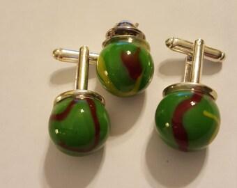 Green w/Red Swirl Marbles Cuff Links