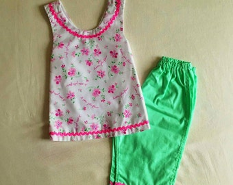 Girls Handmade Summer Outfit age 9-12months