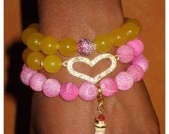 Pink and Yellow Stretch Agate Beaded Bracelet 3pc Set
