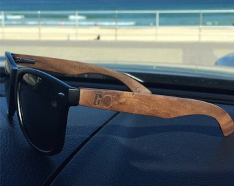 Black 'Bronte' Wayfarer Sunglasses with Walnut Wood Arms