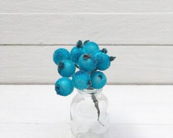 Bunch of  10 Berries, Blue Berries, Millinery Flower,  Berry Cluster, Wired Flower, Chrisrtmas Berries, Berries, Frost Berries, Frost Berry.