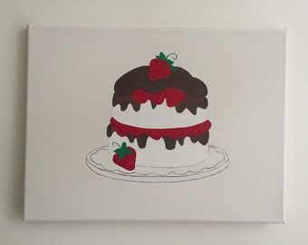 Chocolate and Strawberries Cake Acrylic Painting on Canvas Original Artwork Original Painting Wall Art Home Decor