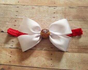 San Francisco 49ers bow  headband-49ers headband-san fran 49ers baby girl shower gift-49ers baby/49ers newborn/newborn sf 49ers/