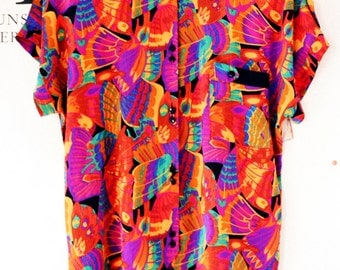Vintage Blouse Purple Floral Pattern Abstract Funky Colors