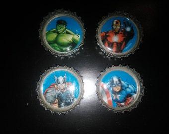 Super Hero Bottle Cap Magnets set of 4