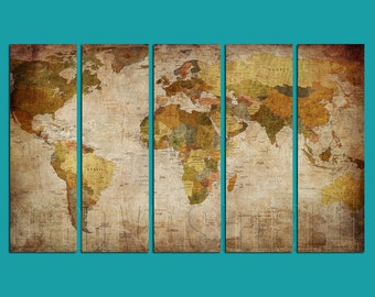 World Political Map Diptych, Triptych, 5 Panels Canvas Print, Ready To Hang, Large Stretched Giclée, Gallery Wrap Art Décor Best Offer