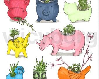 Succulents in flowerpots no 1 - Original promarker illustration