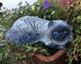 Hand Paintee Concrete Himalayan Cat Statue, Garden Stone, Memorial, Ornament, Decoration