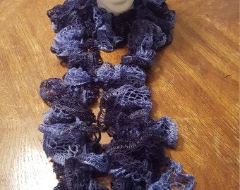 Blue Knit Ruffle Scarf