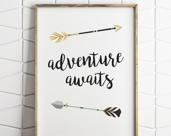 adventure awaits wall decor, adventure awaits printable, adventure awaits digital art, adventure awaits instant download