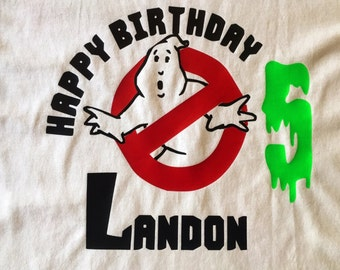 Personalized Ghostbusters Themed Childrens' Birthday Party Shirt