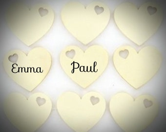 100 Ready-made wooden vintage heart wedding place names