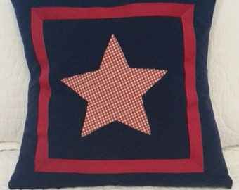 Patriotic Americana Pillow Cover / Sham hand made