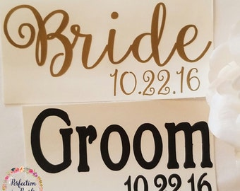 Bride and Groom Decals | Wedding Date Decals | Personalized Wedding Decal | Bridal Shower Gift | Engagement Gift | Wedding Decor Decal